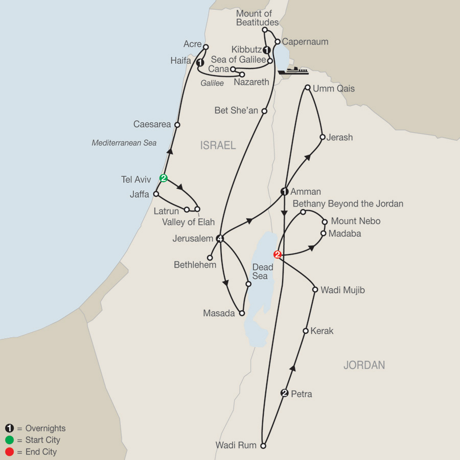 Israel & Wonders of Jordan map