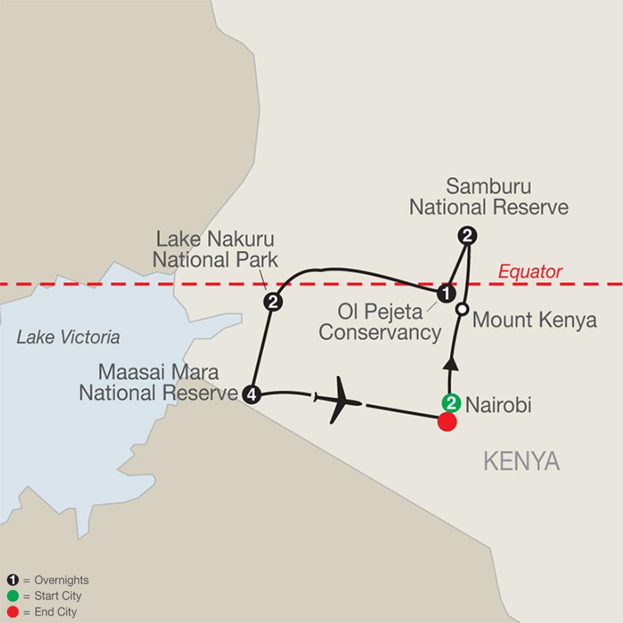 Kenya: A Classic Safari with Nairobi & Maasai Mara Extended Stay map