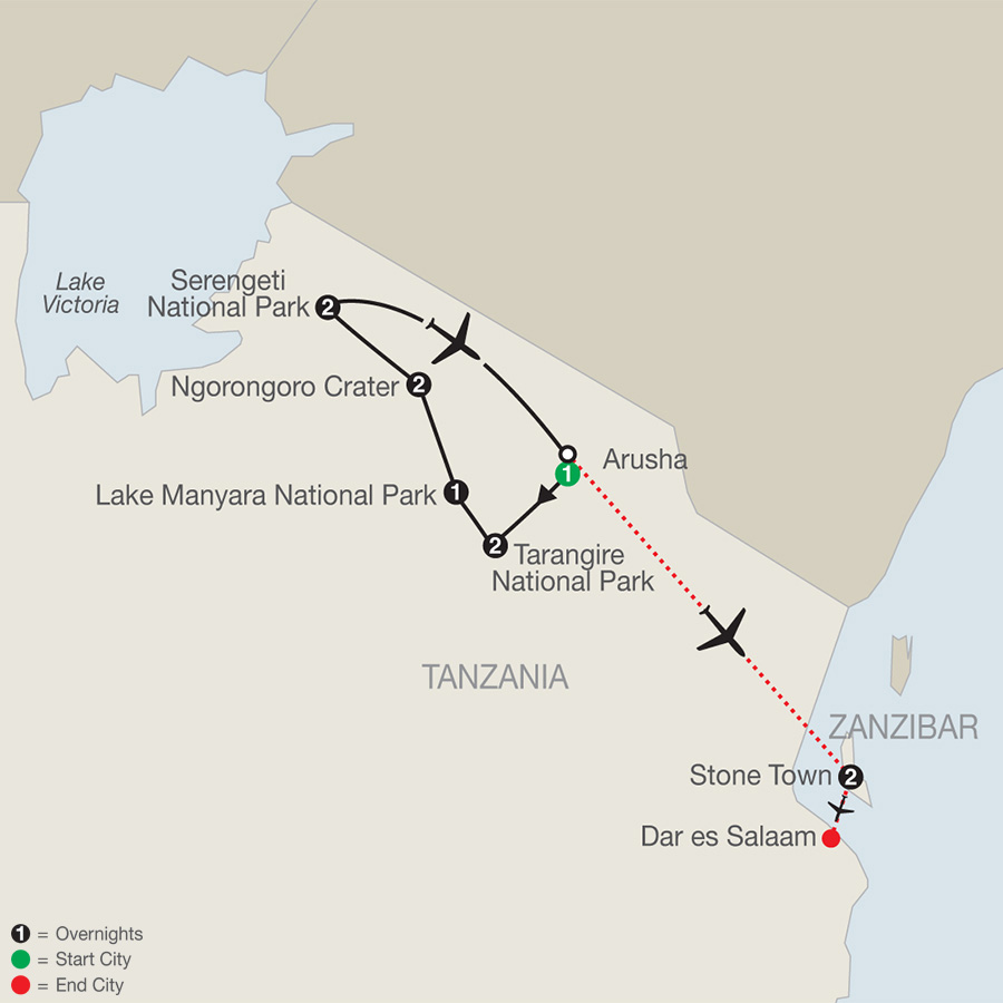 Tanzania: The Serengeti & Beyond with Zanzibar - Stone Town map