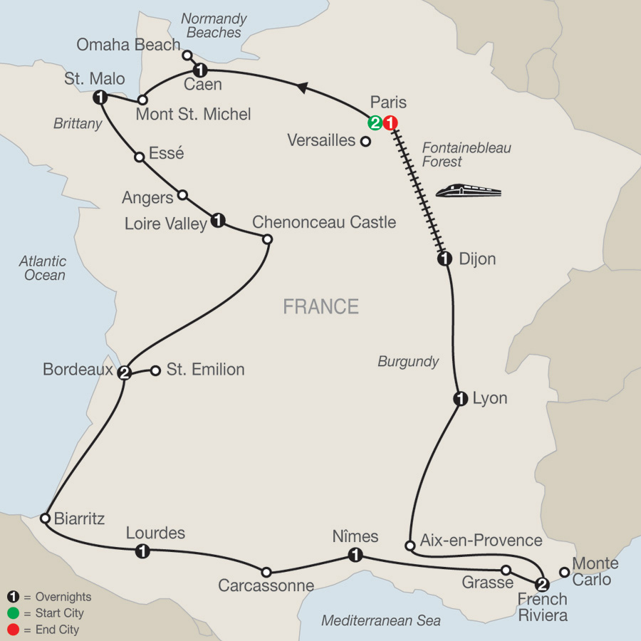 La France Map.Tour Of France Globus Escorted France Tours