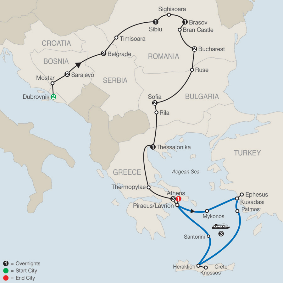 The Best of the Balkans with 3-Night Greek Cruise map