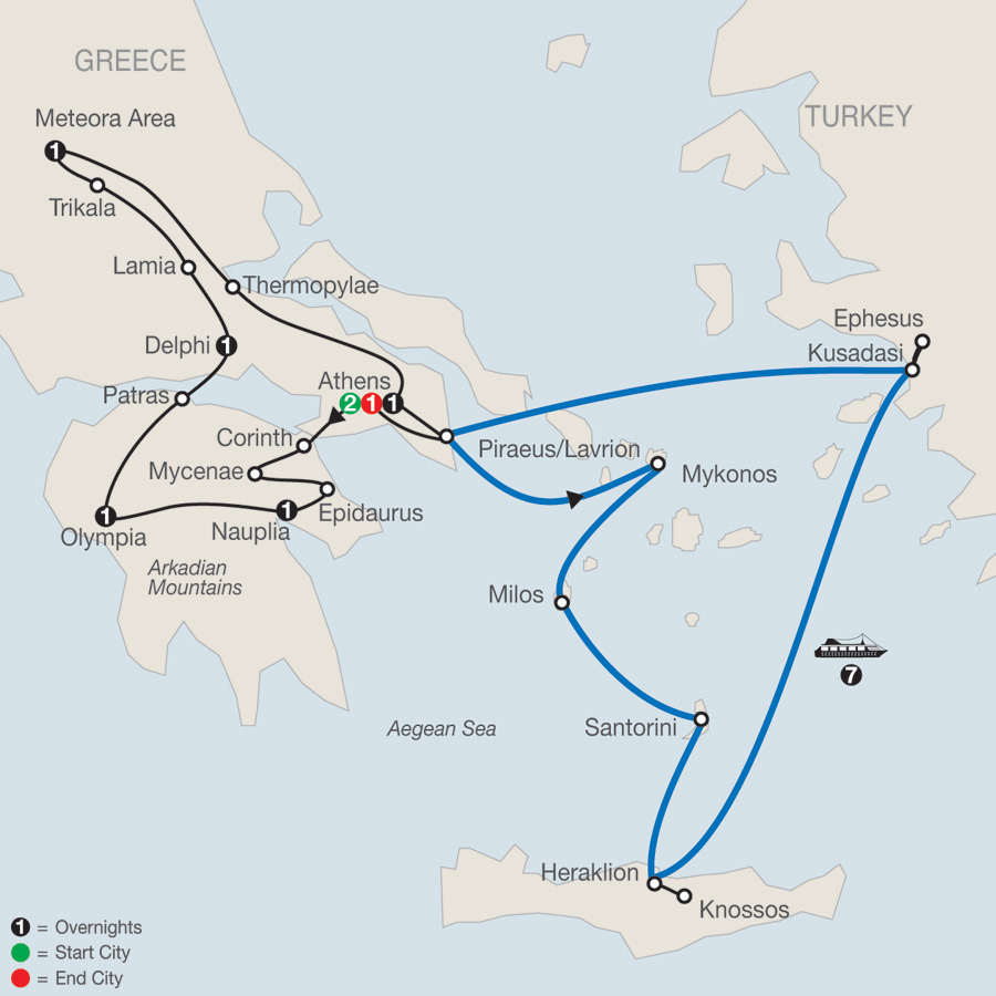 Classical Greece with Idyllic Aegean 7-Night Cruise map