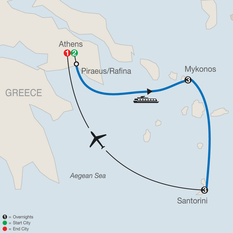 Greek Island Hopper map