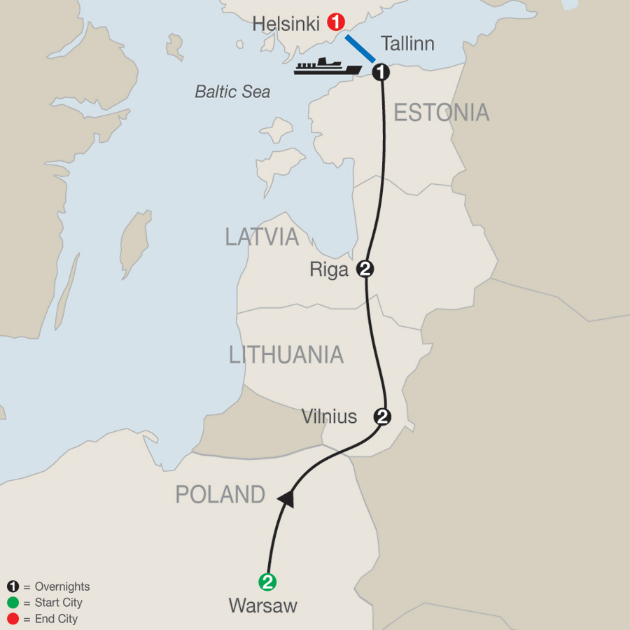 Warsaw, the Baltics & Helsinki map