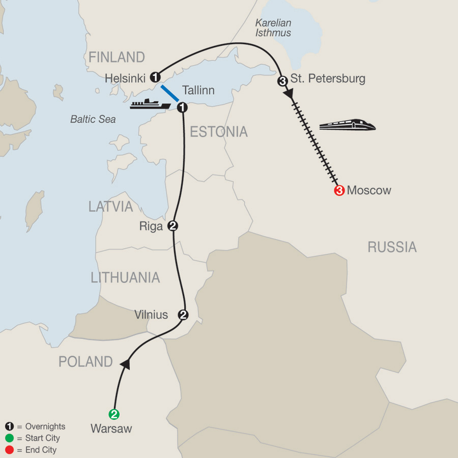 Warsaw, the Baltics & Helsinki with St. Petersburg & Moscow map