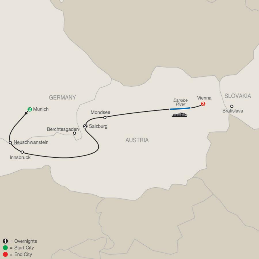 Munich, Salzburg & Vienna map