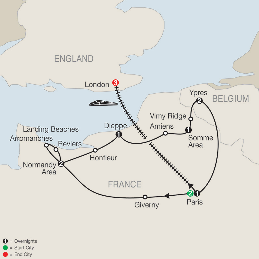 Great Canadian War Memorial Tour with London map