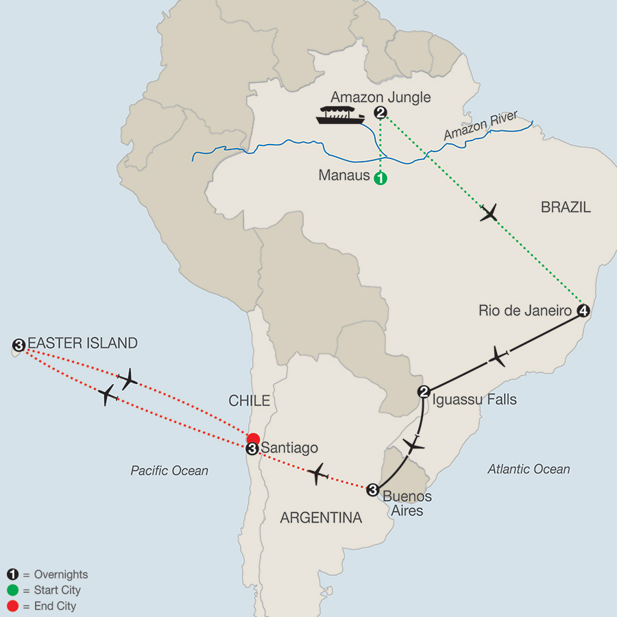 South America Getaway with Amazon, Santiago & Easter Island map