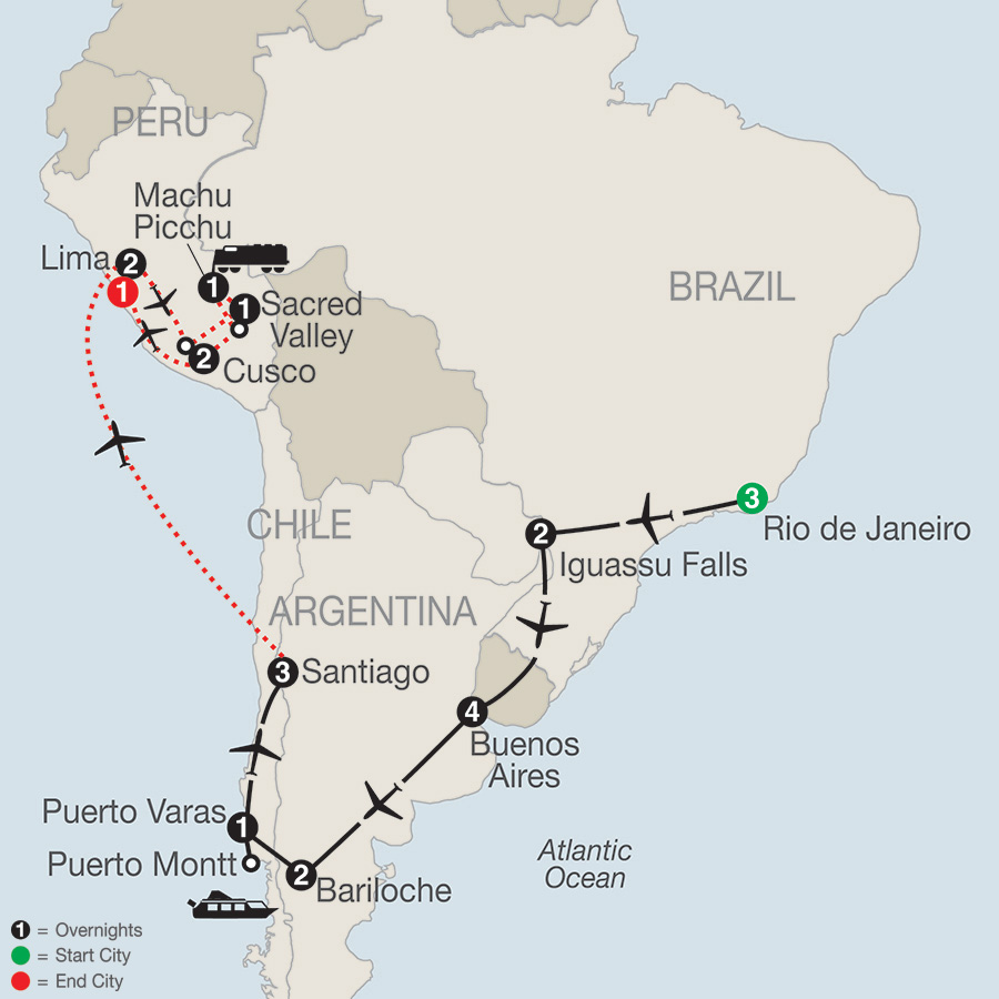 South American Odyssey with Peru map