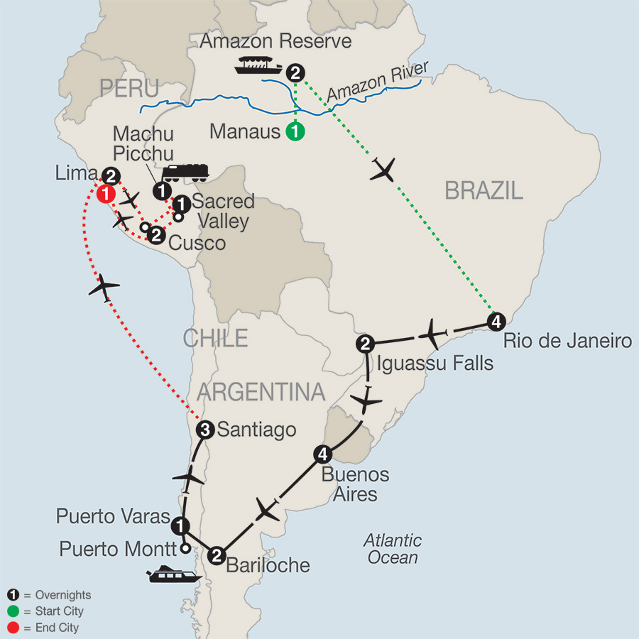 South American Odyssey with Amazon & Peru map