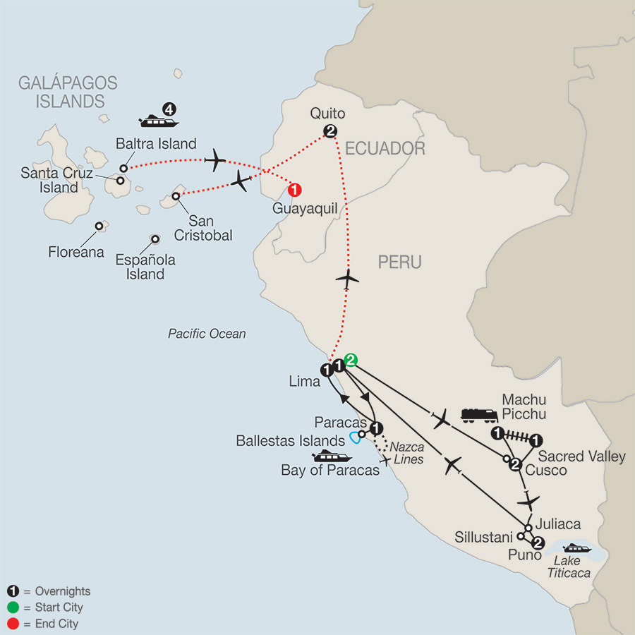 Legacy of the Incas with Galápagos Cruise map