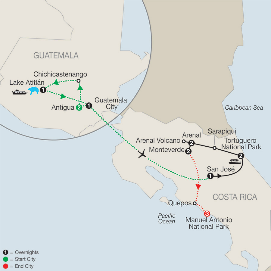 Natural Wonders of Costa Rica with Guatemala & Manuel Antonio map