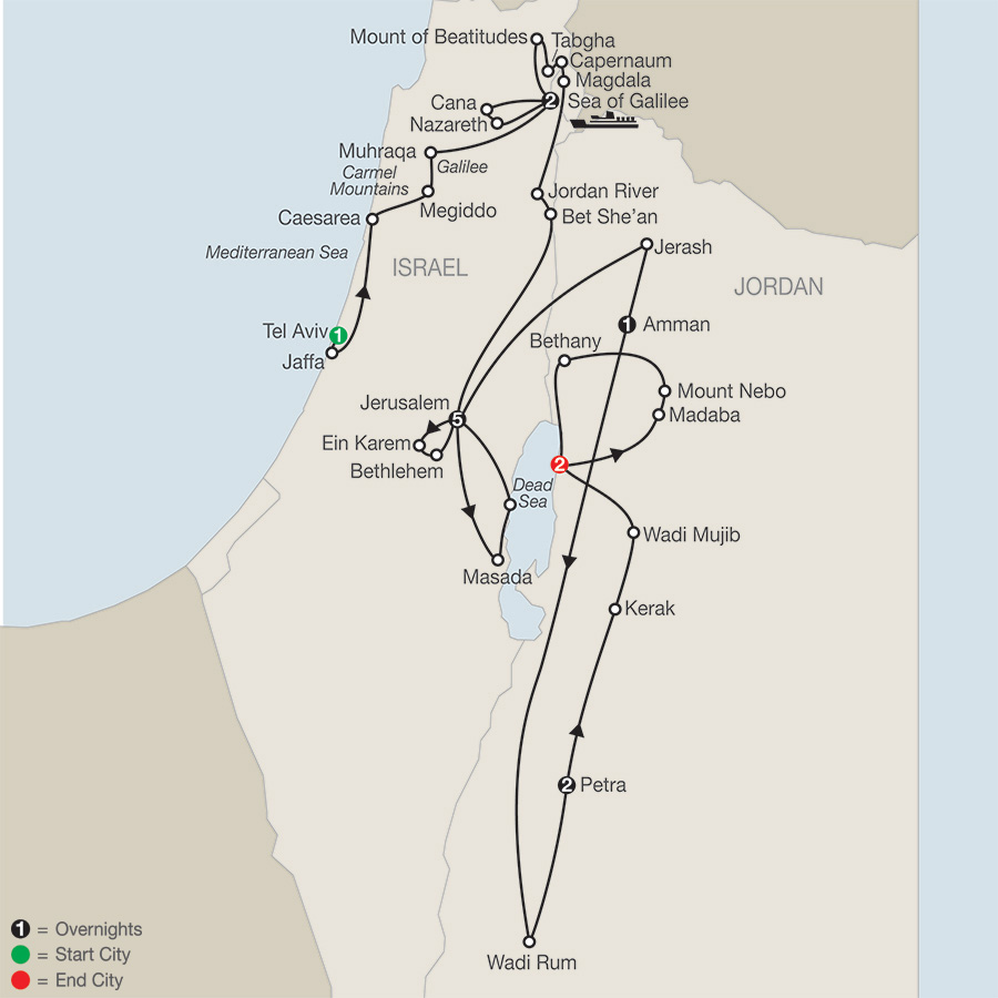 Journey Through the Holy Land with Jordan - Faith-Based Travel map