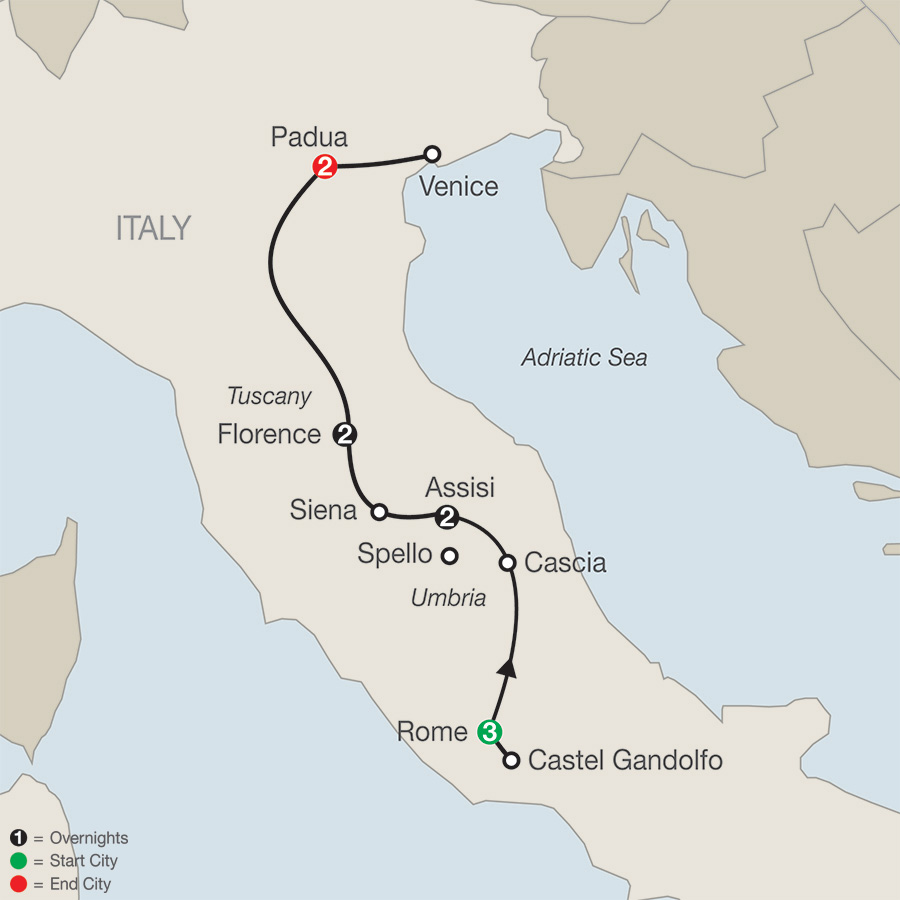 Grand Catholic Italy – Faith-Based Travel map