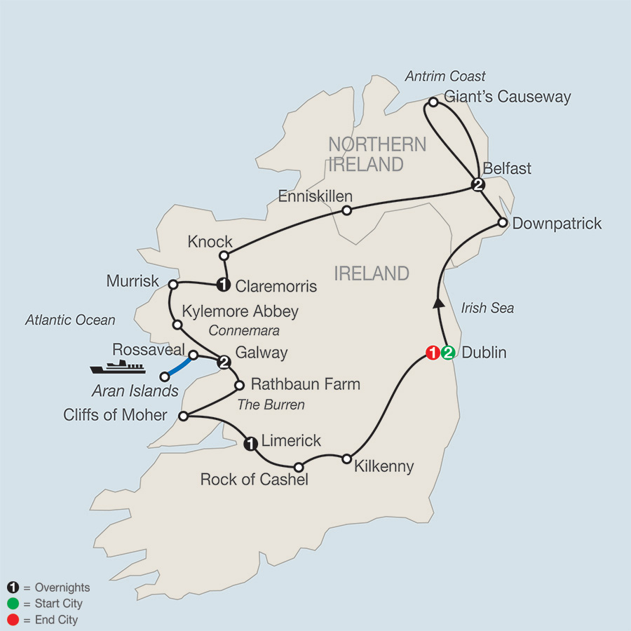 Map Of Ireland Knock.Ireland Catholic Tours Globus Faith Tours