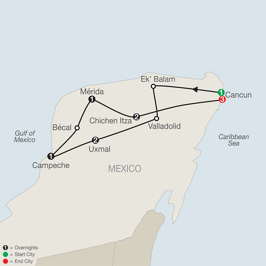 The Wonders of Mexico's Yucatan with Cancun map