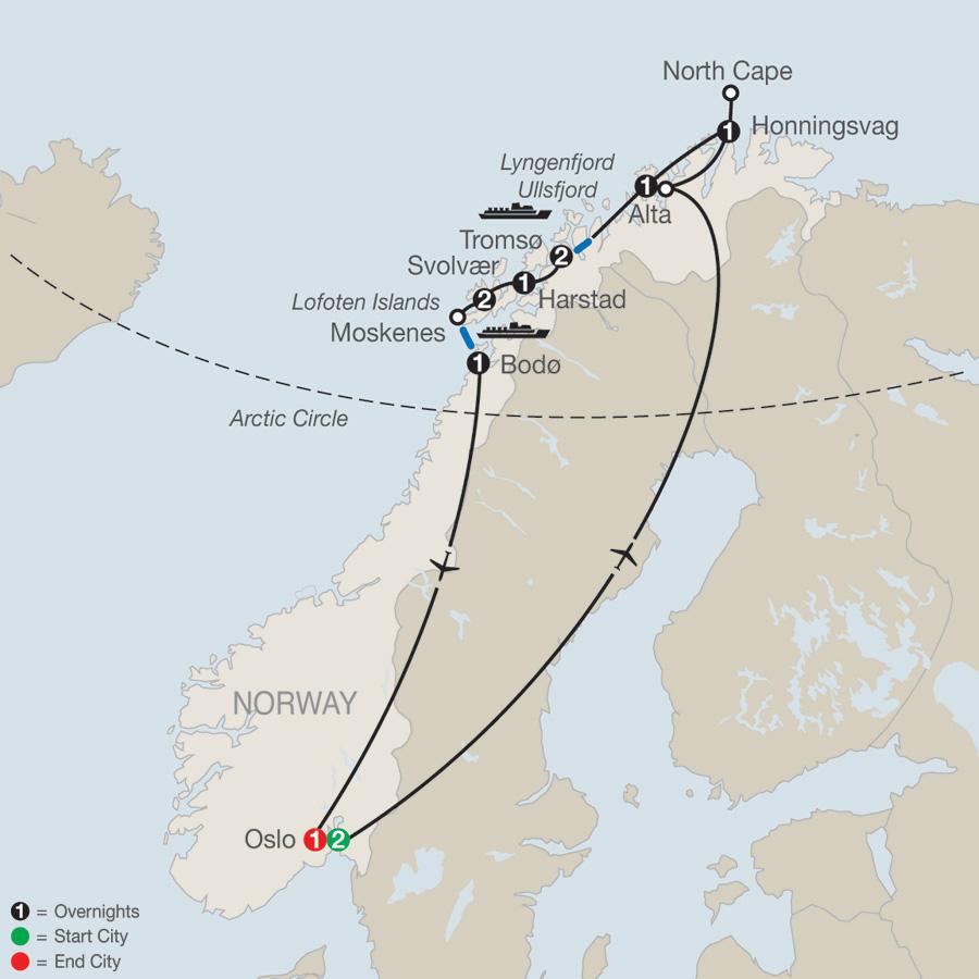 Land of the Midnight Sun & Lofoten Islands map