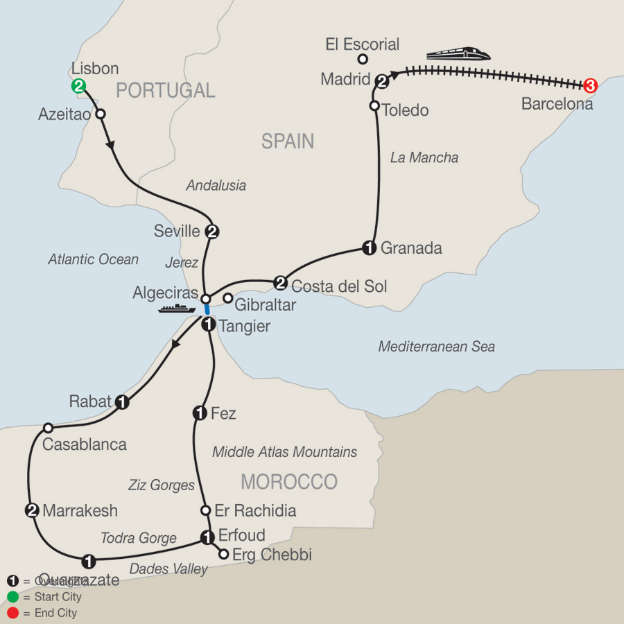 Map Of Spain Gibraltar And Morocco.Spain Portugal Morocco With Barcelona