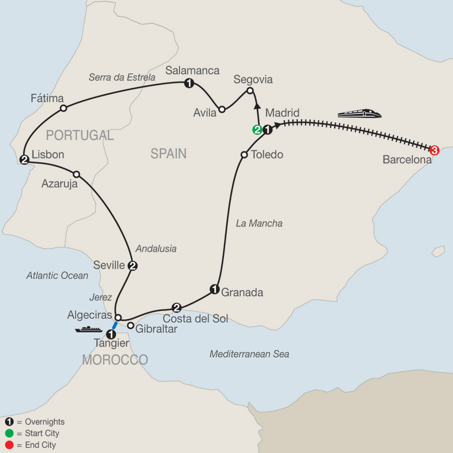 Iberian Discovery & Morocco with Barcelona map