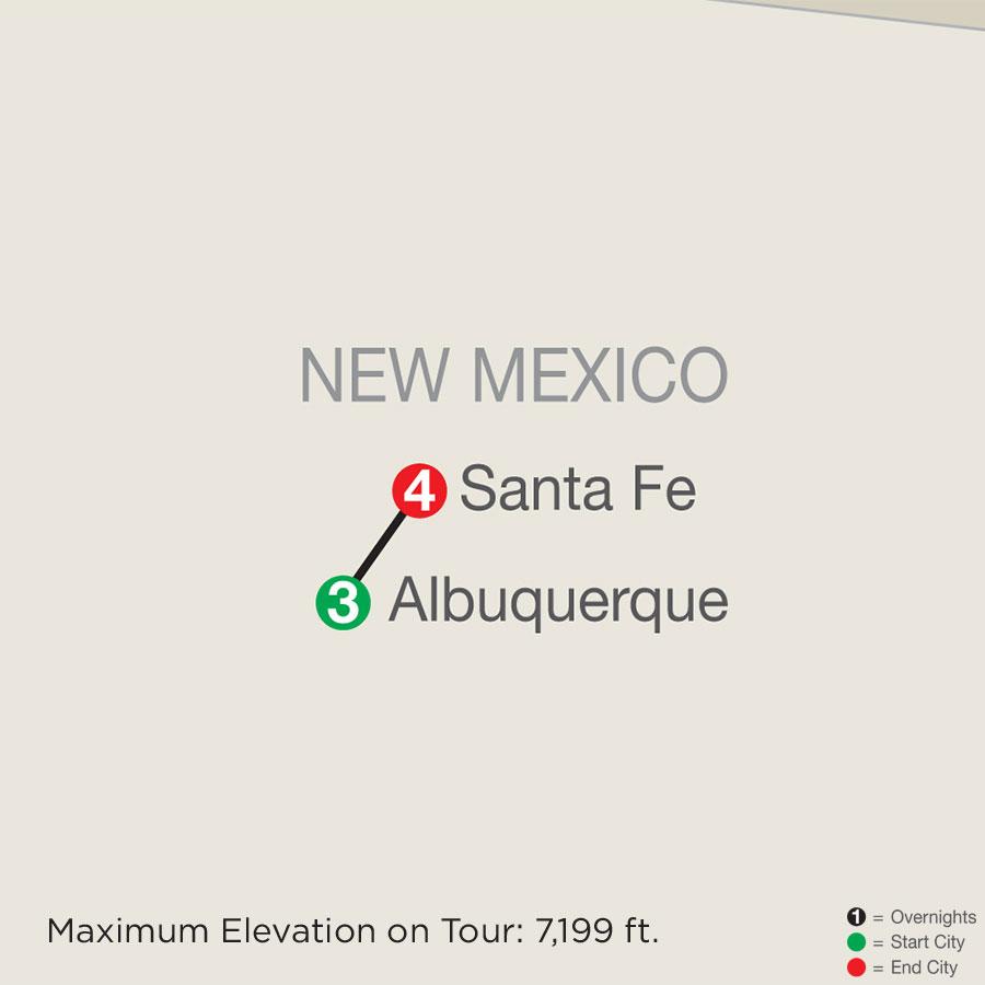 Enchanted New Mexico with Albuquerque Balloon Fiesta & Santa Fe map