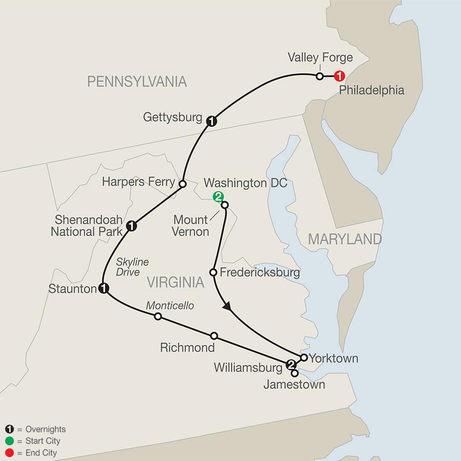 America's Historic East map