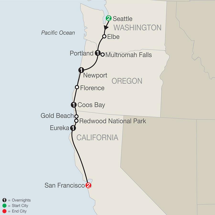 Pacific Coast Adventure map