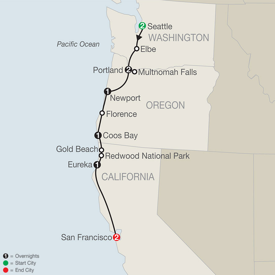 Pacific Coast Adventure with Portland Rose Festival map