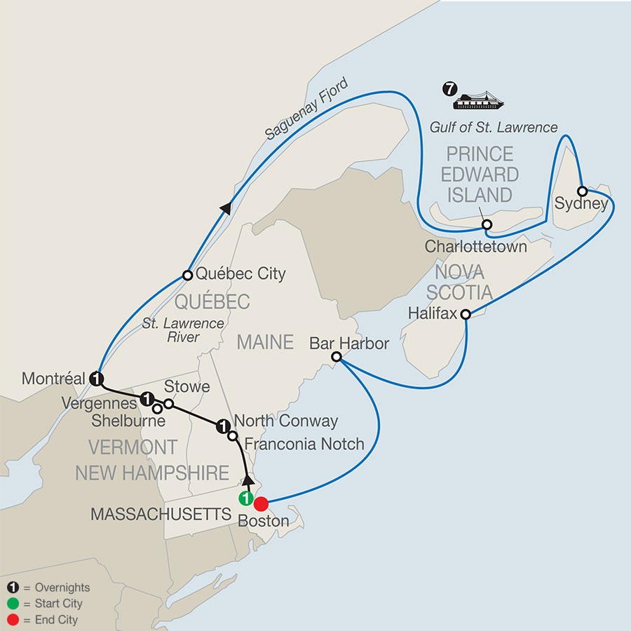 Map Of New England And Quebec.Passage Through New England Eastern Canada