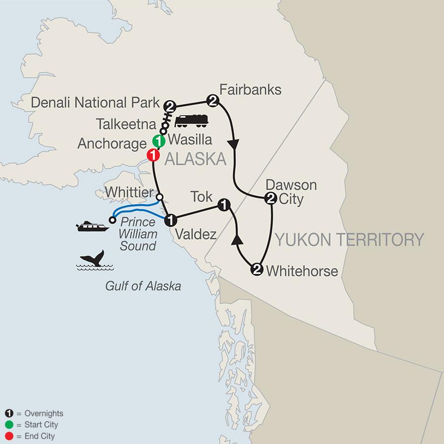 Ultimate Alaska & the Yukon map