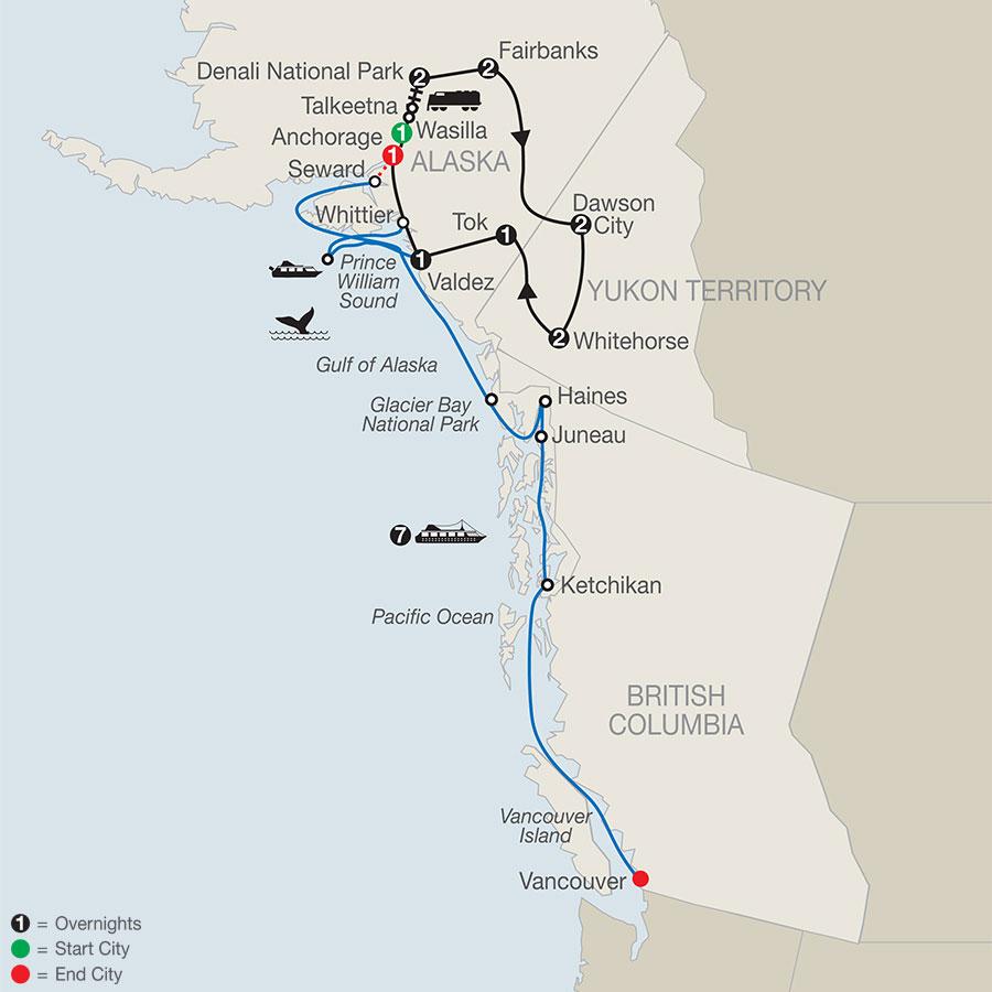 Ultimate Alaska & the Yukon with Alaska Cruise map