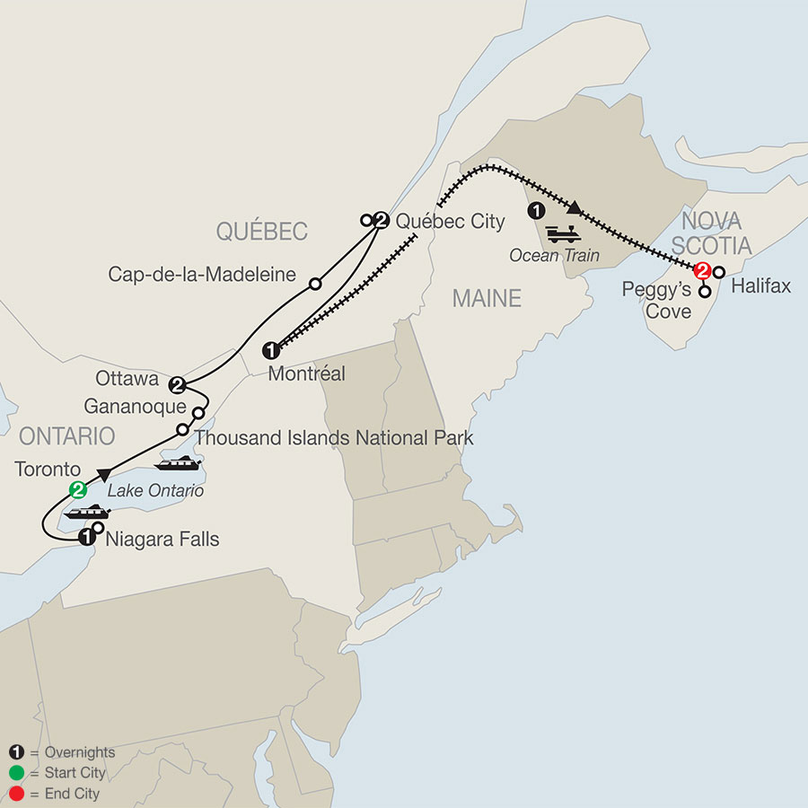 Historic Cities of Eastern Canada with Ocean Train to Halifax map