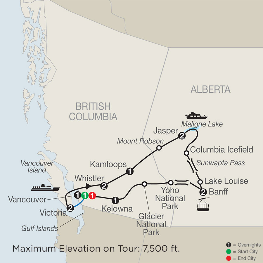 Grand Western Canada Vacation map