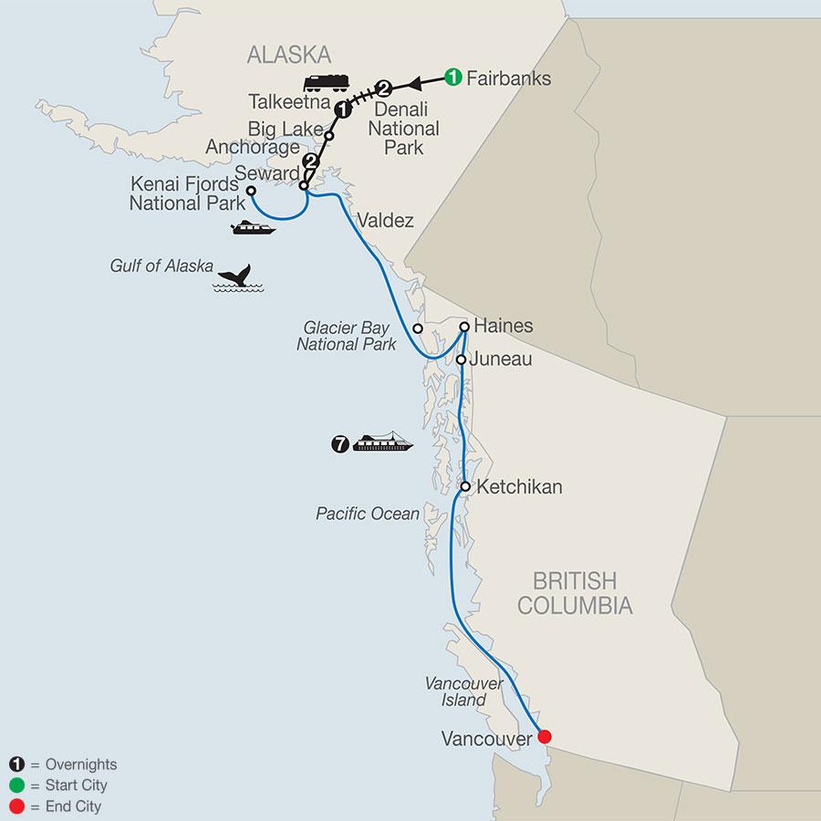 Nature's Best: Alaska with Alaska Cruise map