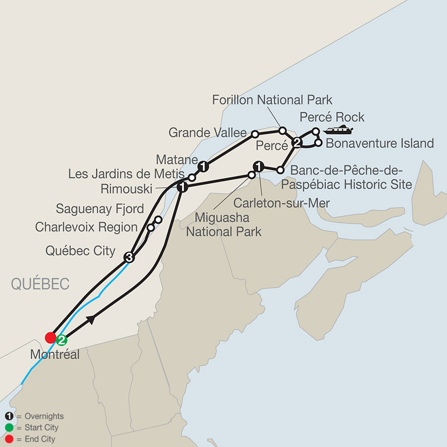 Quebec in Depth with the Gaspe Peninsula map