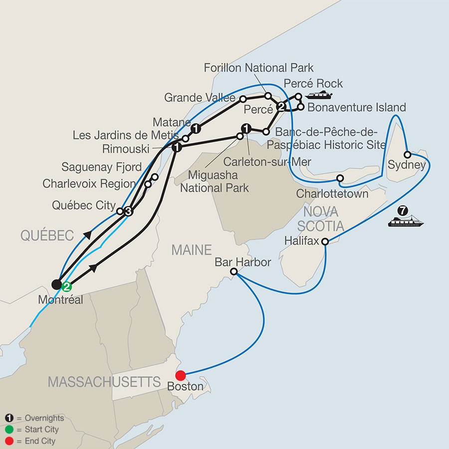 Quebec in Depth with the Gaspe Peninsula and Canada & New England Discovery Cruise map