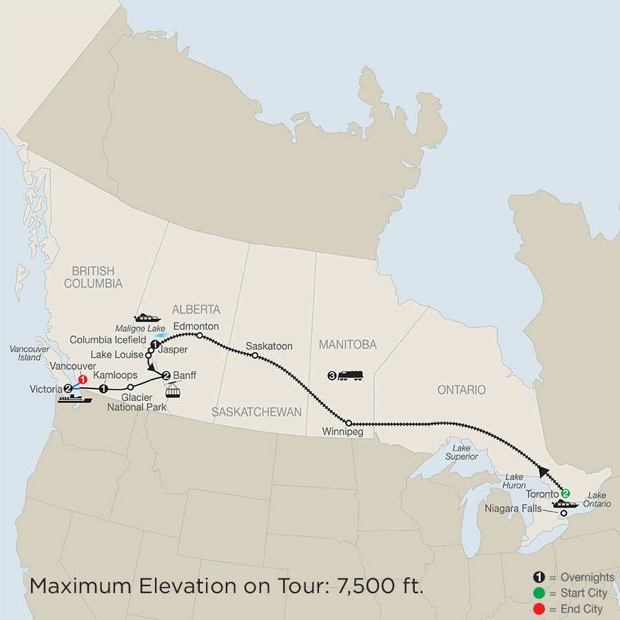 Great Canadian Rail Journey map
