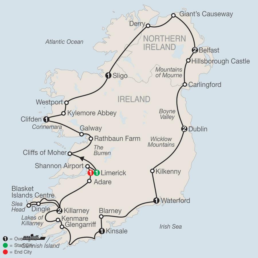 Scenic Ireland map