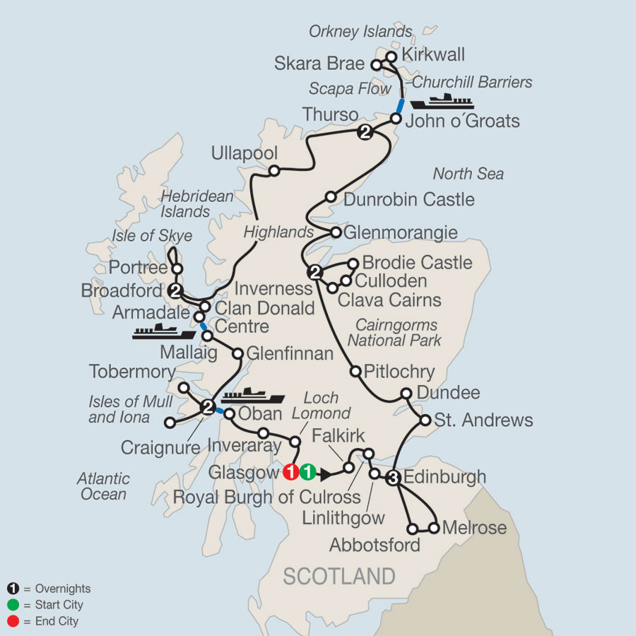 Scottish Highlands & Islands map
