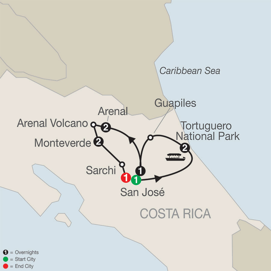 Costa Rica Escape with Tortuguero map