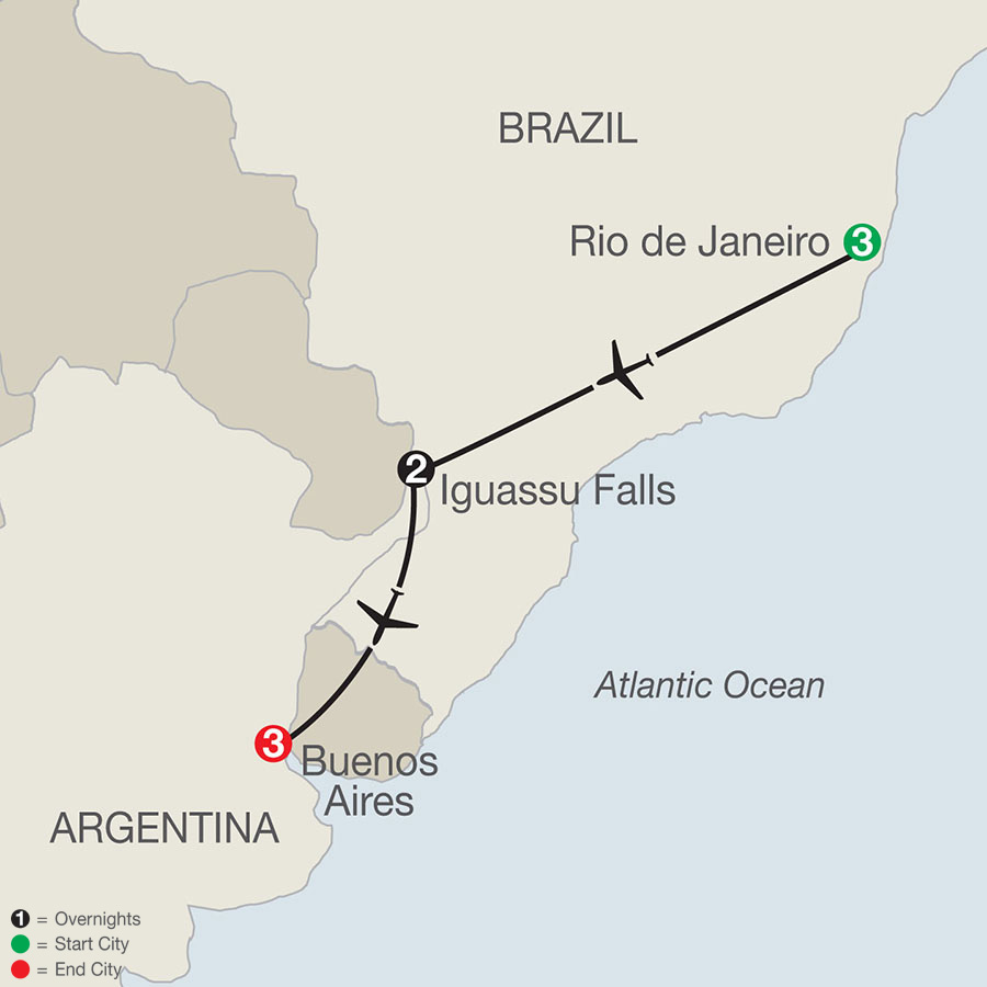Brazil & Argentina Escape map
