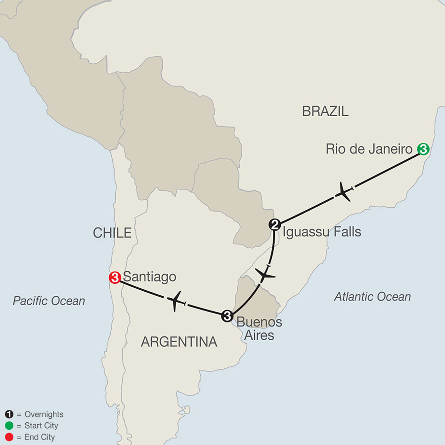 Brazil & Argentina Escape with Santiago map