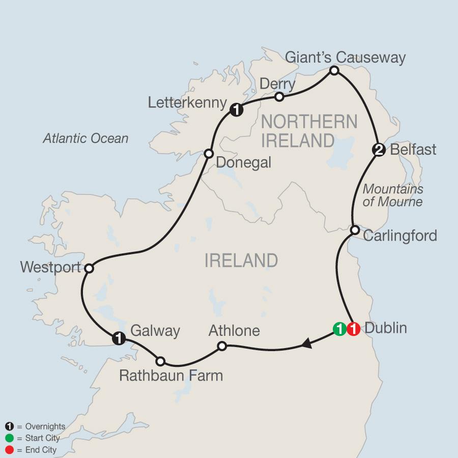 North of Ireland Escape map