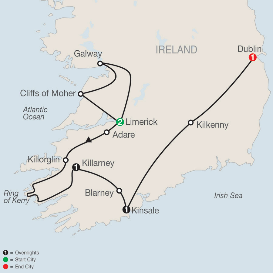 South of Ireland Escape map