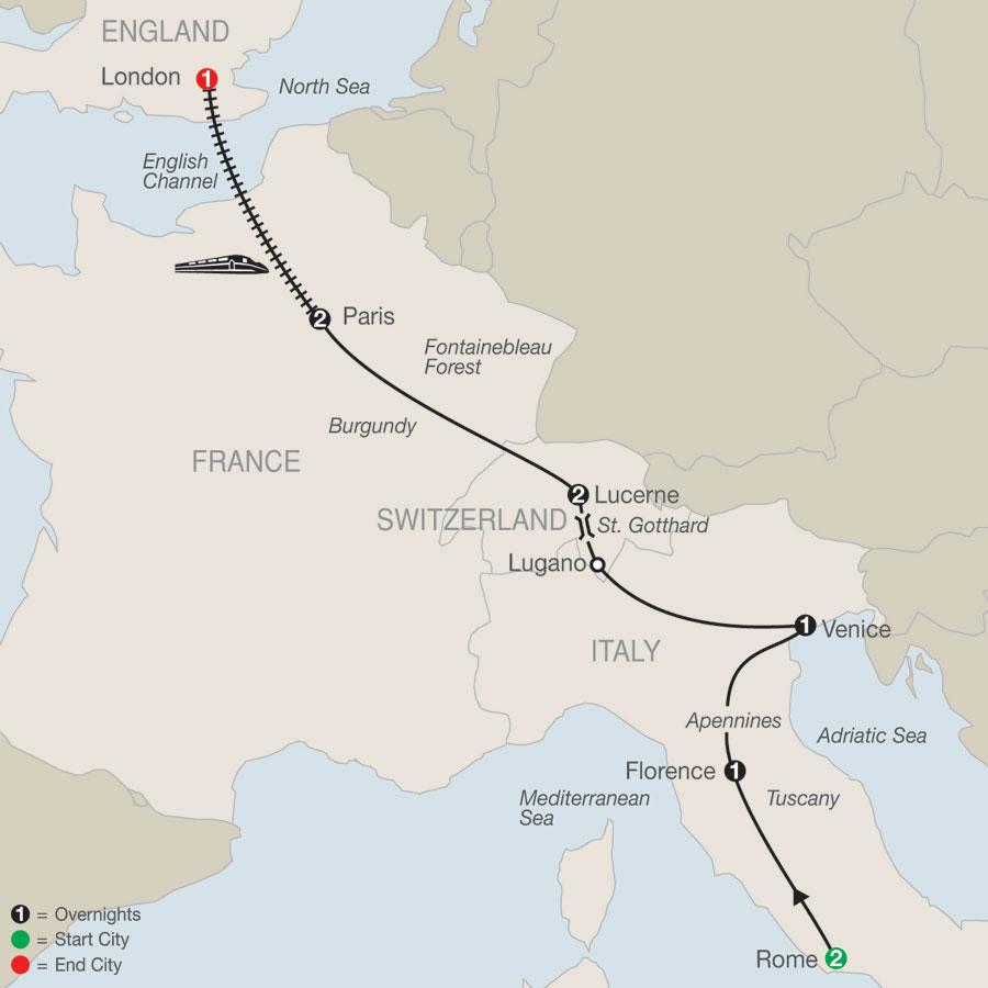 European Escape with London map