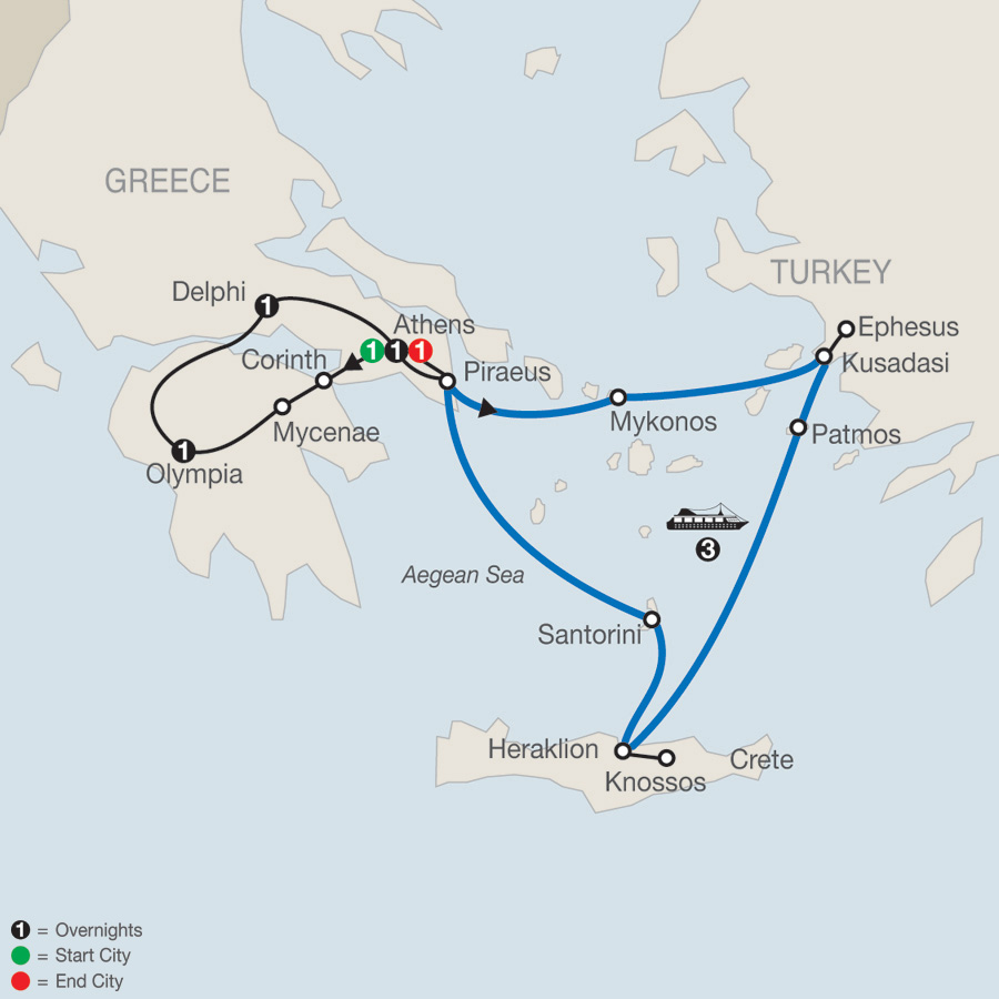 Highlights of Greece Escape with 3-night Iconic Aegean Cruise map