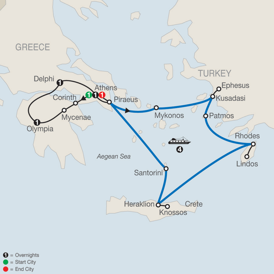 Highlights of Greece Escape with 4-night Iconic Aegean Cruise map