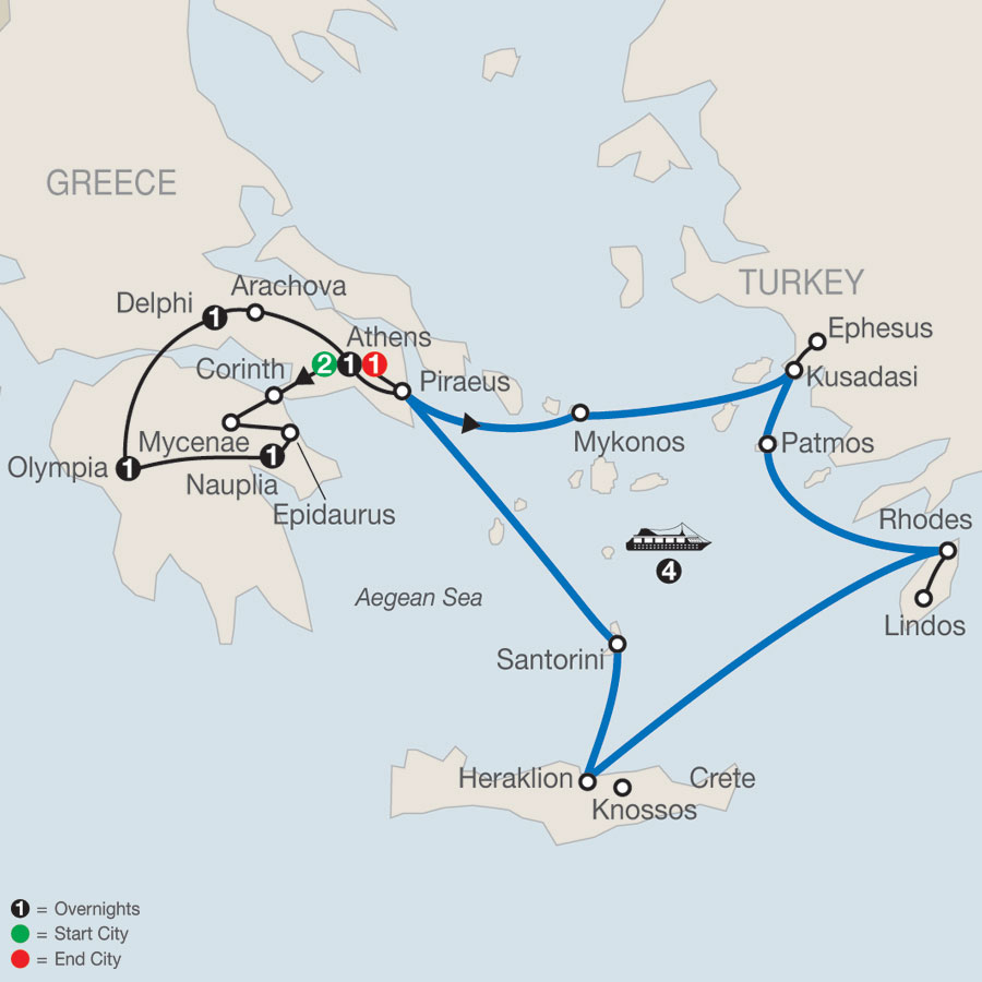 Greek Escape plus 4-Night Iconic Aegean Cruise map