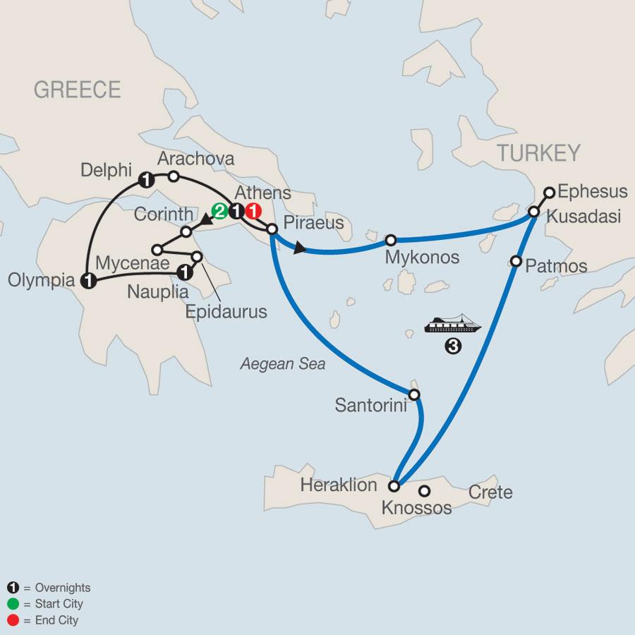 Greek Escape plus 3-Night Iconic Aegean Cruise map