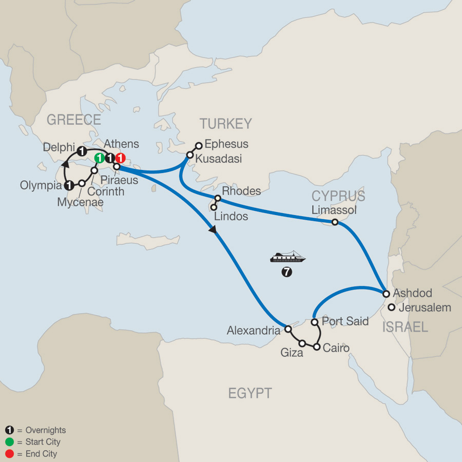 Highlights of Greece Escape with 7-night 3 Continent Cruise map