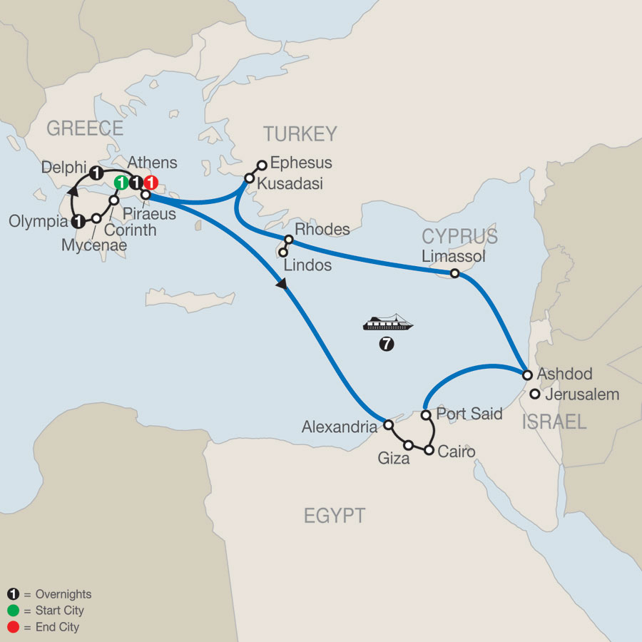 Highlights of Greece Escape plus 7-night 3 Continent Cruise map